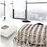 Double Sided Faux Fur Throw Blanket Silky Soft Oversized Afghan Machine Washable, Grey Striped Mink Chinchilla Shadow Fox 55 by 70 Inch (Light Gray)