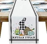 Runner da tavola in stile fattoria, coniglietto pasquale felice con uova a quadri trama leopardata lunga tela antiscivolo runner da tavolo per cucina, feste, banchetti, 18x72 pollici