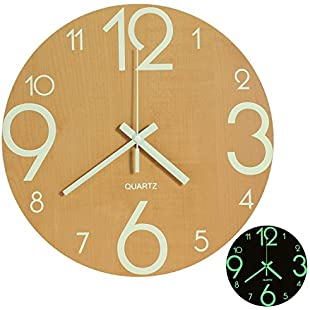 LENRUS Luminous Wall Clock, 12 Inch Wooden Silent Non-Ticking Kitchen Wall Clocks with Night Lights for Indoor/Outdoor Living Room Bedroom Decor Battery Operated (Wood Color)