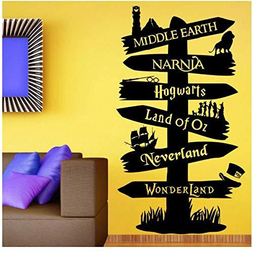 HDKSA Calcomanía de vinilo para pared, pegatina de libro de cuentos, poste indicador Fandom Señor del anillo, tipografía de Peter Pan de Narnia-57 * 101cm