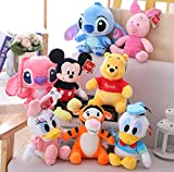 agzhu 8Pcs 23Cm-30Cm Plush Toys Mickey Mouse Minnie Donald Duck Stitch Winnie The Pooh Stuffed Doll Birthday Gift For Children Kid Girl