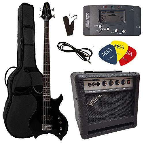 ELEKTROBASS - Set - Heavy Metal - E-BASS - GIGBAG-Tasche - Gurt - VERSTÄRKER 45 WATT - STIMMGERÄT - 3X PLEKTREN - Kabel - SCHWARZ - Vision Sound Gitarre - Heavy Metal Style - XB500