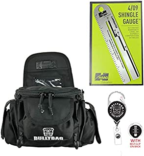 BullyBag Ultra Pouch 4-Pack: Combo includes a BullyBag Ultra Pouch w Paddle clip, Haag 4/09 Shingle Gauge, BullyBag Badge & BullyBag Gear Retainers