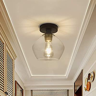 DLLT Industrial Glass Ceiling Light Fixture, Vintage Close to Ceiling Light, Semi Flush Mount Light for Dining Room, Bedroom, Cafe, Bar, Corridor, Hallway, Entryway, Passway, Foyer, Clear lampshade