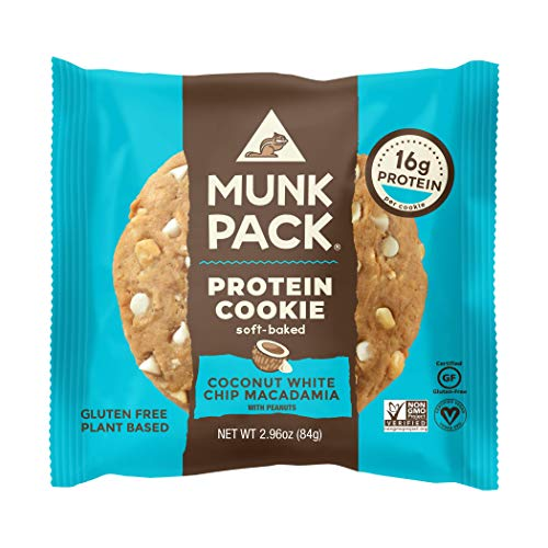 Munk Pack Protein Cookie, Coconut White Chip Macadamia, 12 Pack, 16 Grams of Protein, Soft Baked, Pantry Friendly, Vegan, Gluten Free, Dairy Free, Soy Free