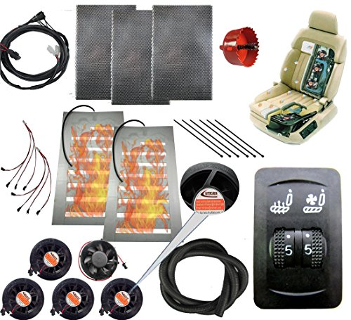 Tech Era 12v car Heated and Cooled seat pad Kits System Universal 5 Files 2 Wheel Cool/Heat Switch Heater pad car Ventilated seat Cooler 5 Fans 1 seat-Blow Wind Style