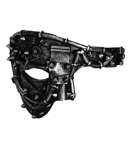 JapanAttitude Masque gris et noir torturé effet métal avec mécanisme d'horloge et tuyaux, steampunk