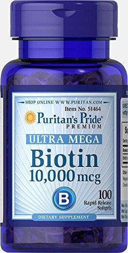 Puritans Pride Ultra Mega Biotin 10,000mcg 100 Rapid Release Soft Gels