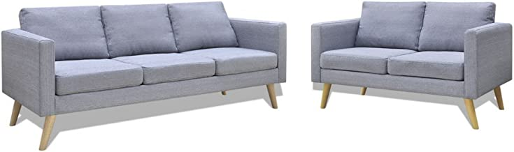 Festnight Sofa Set 5-Seater Light Grey Fabric with Thickly Padded Cushions Four Sturdy Wooden Sofa Legs Simple and Stylish