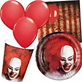 Carpeta 34-teiliges Party-Set * Halloween Clown * mit Teller + Becher + Servietten + Luftballons |...