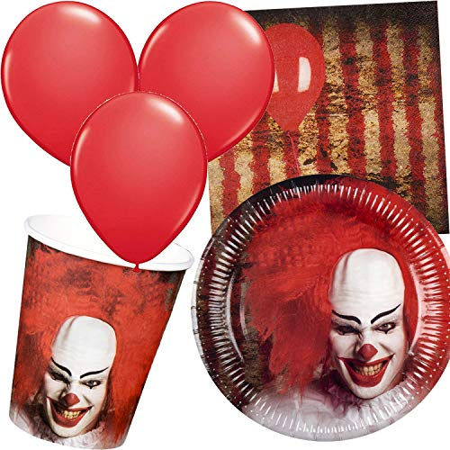 Carpeta 43-teiliges Party-Set * Halloween Clown * mit Teller + Becher + Servietten + Luftballons | Grusel Zirkus It Es Horror Partygeschirr Deko Party Mottoparty