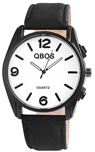 QBOS Herren analog Armbanduhr mit Quarzwerk RP3117200006 Metallgehäuse mit Kunstleder Armband in Schwarz und Dornschließe Ziffernblattfarbe Weiß Bandgesamtlänge 23 cm Armbandbreite 24 mm