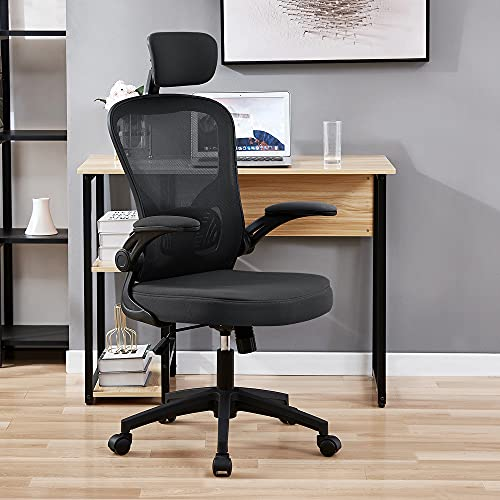 OWAY HOMELIVING Ergonomic Office Chair High Back with Lumber Support Adjustable Desk Chair with Flip-Armrest and Mesh Back for Home Computer Chairs for Adult Black