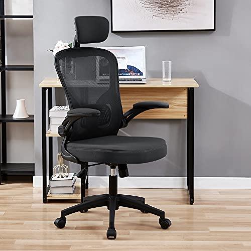 OWAY HOMELIVING Bürostuhl mit hoher Rückenlehne, Netzstoff, Bürostuhl mit faltbarer Armlehne für Heimarbeiten (schwarz)