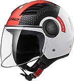 LS2, casco jet de moto airflow condor, l, negro blanco rosso