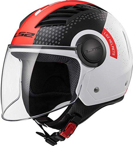 LS2, Casco jet de moto Airflow condor, XL, nero bianco rosso
