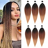 Pre Stretched Braiding Hair Extensions Ombre Braid Hair 100% Kanekalon Synthetic Crochet Hair Braids 24inch Yaki Texture Hair Braiding 80g(24' 6pcs, black/dark brown/light brown)