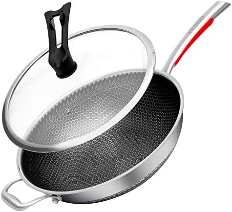 megoo stainless steel 12 Inch nonstick wok with lid frying pan large nonstick saute pan fry product image