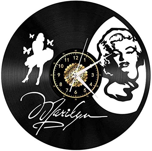 Reloj de Pared Mujer Hermosa Reloj de Pared de Vinilo Creativo Decoración de CD para el hogar Moderno Decoración de Sala de Estar Retro Regalos Hechos a Mano de Navidad 12 Pulgadas