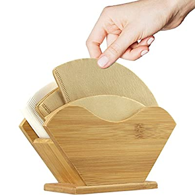 Unibene Bamboo Coffee Filter Holder, Renewable Stand Container Dispenser Rack Shelf for Square Cone-shaped and Flat-bottomed Pour Over Paper Filters