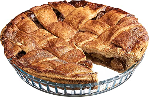 Glass Pie Pan for Baking: Deep Round Pie Plate Dish Great For Apple, Pumpkin, Holiday Pies, etc. - Fluted Pie Holder - Oven Safe Tray - Borosilicate Glass Cake Tin – 11-Inch Large Diameter