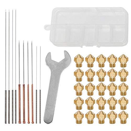 SFFSM 3D Printer Nozzle MK10 Thread Brass Extruder Head Nozzle 0.2-1mm Clean Needles 3D Printer Accessories (Color : Gold)