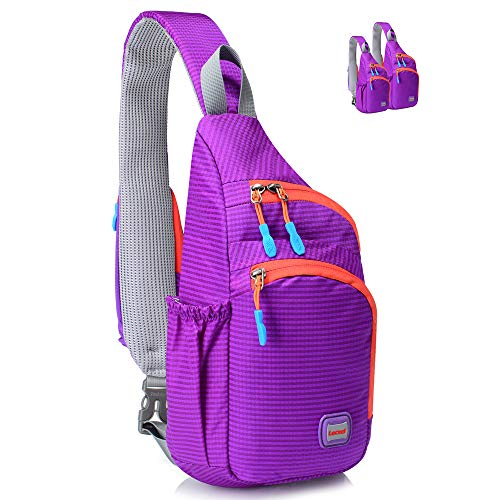 Lecxci Outdoor Chest Sling Bag Lightweight Waterproof Backpack for Kid/Man/Women(S,Purple)