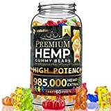 Wellution Hemp Gummies 985,000 High Potency - Fruity Gummy Bear with Hemp Oil, Natural Hemp Candy...