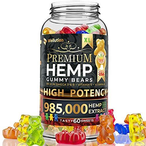 Wellution Hemp Gummies 985,000 High Potency - Fruity Gummy Bear with Hemp Oil, Natural Hemp Candy Supplements for Soreness, Anxiety, Stress & Inflammation Relief, Promotes Sleep & Calm Mood