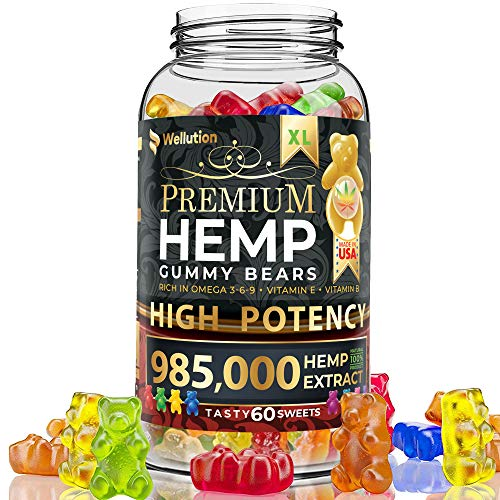 Hemp Gummies Premium 985,000 High Potency - Fruity Gummy Bear with Hemp Oil - Natural Hemp Candy Supplements for Pain, Anxiety, Stress & Inflammation Relief - Promotes Sleep and Calm Mood