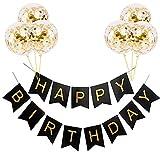 Bannière « Happy Birthday » noire et dorée à suspendre, décoration de fête avec 6 grands ballons en latex doré de 30,5 cm, parfaits pour la décoration d'anniversaire