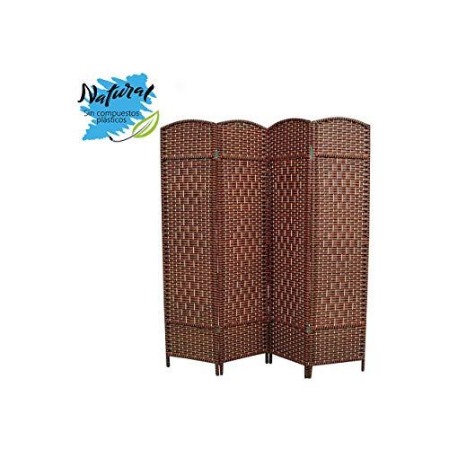 Hogar y Mas Biombo Separador de Madera Bambú y Papel Trenzado, Marrón Chocolate, 4 Paneles, Plegable 180 cm