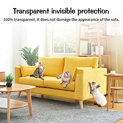 Pidsen Protezione Graffi Gatto, 8PCS Autoadesive Trasparente PVC Anti-Graffio Protector per Gatti e Cani con 40 Viti Protezione per Divano e mobili