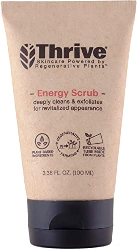 THRIVE Natural Face Scrub for Men & Women – Exfoliating Face Wash with Anti-Oxidants Improves Skin Texture, Unclogs P...