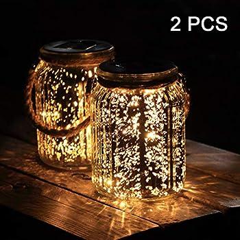 2-Pack Hanging Solar Lantern Mercury Glass Mason Jar Lights