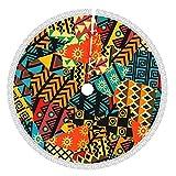 Lingf Coloreado Fondo de Patchwork Africano con Motivos africanos Falda de árboles de Navidad,para Festivos de Fiesta de Navidad,Suministros de árboles Grandes,Adornos de Halloween 48