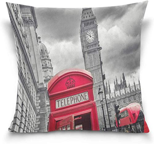 MODORSAN Home Sofa Dekorative 18'x18' Kissenbezug, London mit Big Ben Bus Red Phone Booth Street Schlafsofa Kissenbezug Twin Sides
