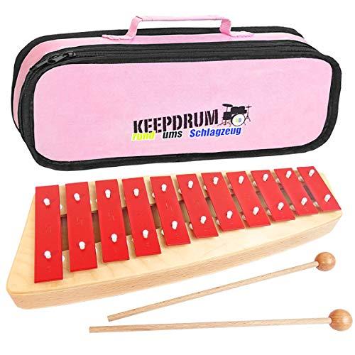 Sonor NG10 Glockenspiel Xylophon für Kinder + keepdrum Tasche Pink