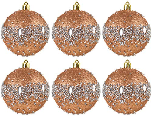 BWG 6 x Art Deco Inspired Rose Gold/Silver Glam Rock Christmas Tree Baubles