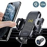 TORRAS Handyhalter fürs Auto Wireless Charger 2020 Upgrade Kit mit Auto Ladegerät 2 Lüftungsclips Qi 7,5W/10W Fast Charging Auto Handyhalterung für iPhone 11 XS XR Samsung Galaxy Note10 Note10+ Usw