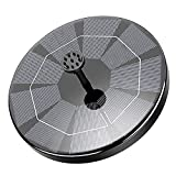 WOHOOH Solar Fountain Pump, 3W Circle Solar Water Features for The Garden, Solar Powered Water Fountain with 6 Nozzles, Floating Fountain Pump Kit for Bird Bath, Fish Tank, Patio, Pond and Pool