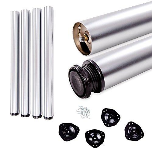 Juego de patas extensibles de mesa | Sossai® Estándar STBAL | Diseño: Aluminio | Altura regulable 820 mm + 20 mm | Set de 4 unidades