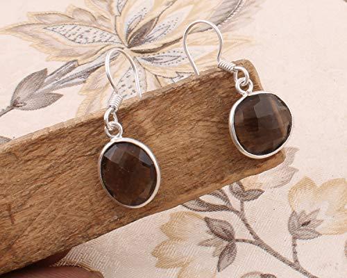 Sterling Silver Earrings for Women, Dangle Earrings, Oval Smoky Quartz Earring, Drop Earrings