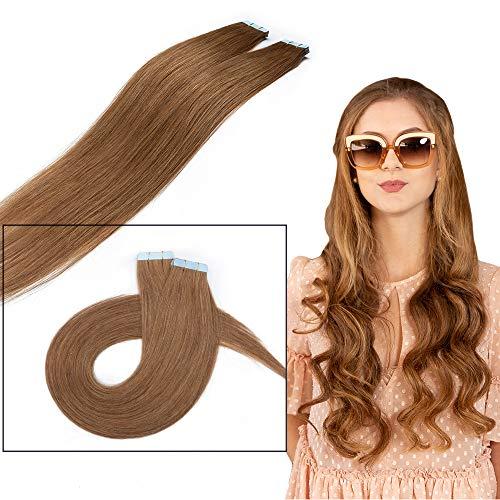 Extension Adhesive Cheveux Naturel 10 Pcs 20g - Rajout 100% Vrai Cheveux Humain Lisse à Bande Adhesive (#06 Châtain clair, 35 cm)