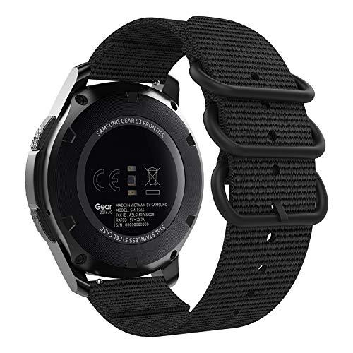 MoKo Armband Kompatibel mit Huawei Watch GT 2e/Watch GT 46mm/Gear S3 Frontier/S3 Classic/Galaxy Watch 46mm, 22mm NATO Nylon Uhrenarmband Ersatzarmband Handgelenk Band Strap - Schwarz