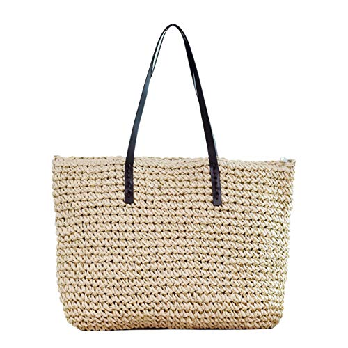 CHIC DIARY Womens Hand-woven Straw Shoulder Bag Large Summer Beach Leather Handles Handbag Tote with Zipper (Beige)