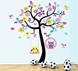 TOTOMO #W156 Owl Swing Tree Wall Decals Removable Wall Decor Decorative Painting Supplies & Wall Treatments Stickers for Girls Kids Living Room Bedroom