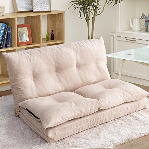 Fabric Floor Couch Lounge with 5 Adjustable Reclining Position, Foldable Japanese Floor Futon, Tatami Style Floor Sofa Bed for Sit Sleep Naps or Play (Beige)