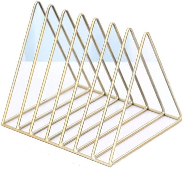 Desktop Iron Storage Rack Bookshelf Multifunction Triangle File Organizer Decor Home Office Sentao Magazine Rack Book Record Holder