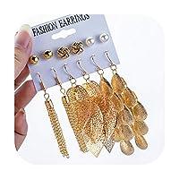 睿ちゃんファッションゴールドカラー幾何学的な金属のイヤリングセット2020ボヘミアンロングタッセル手作りドロップイヤリング用女性ヴィンテージジュエリー-Set type 5-